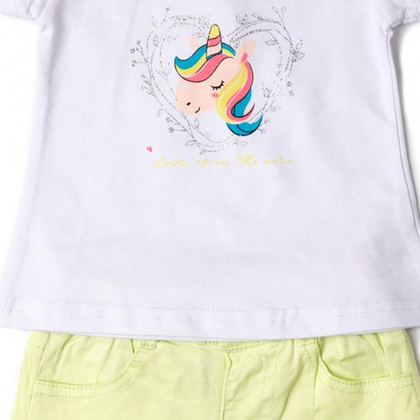 Set vara fete , tricou imprimeu unicorn si pantalon scurt , Babybol 1