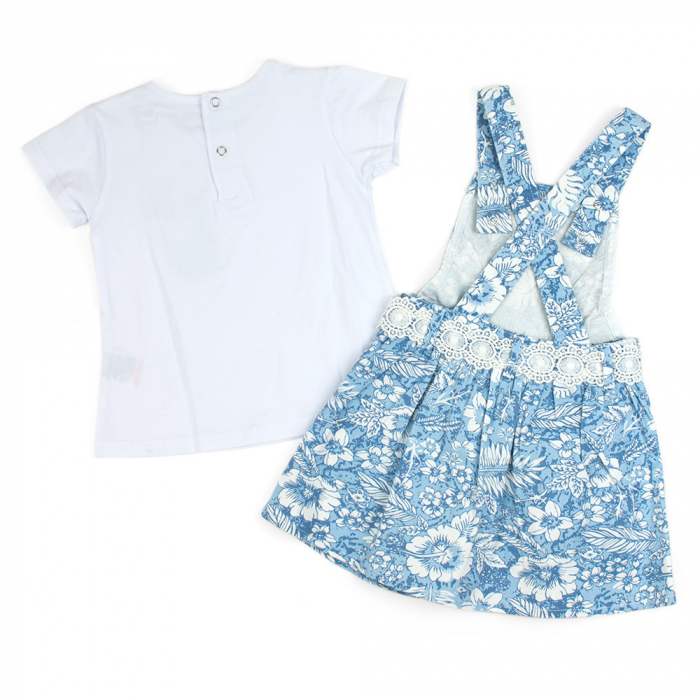 Set vara fete , tricou si sarafan, imprimeu floral, blue 1