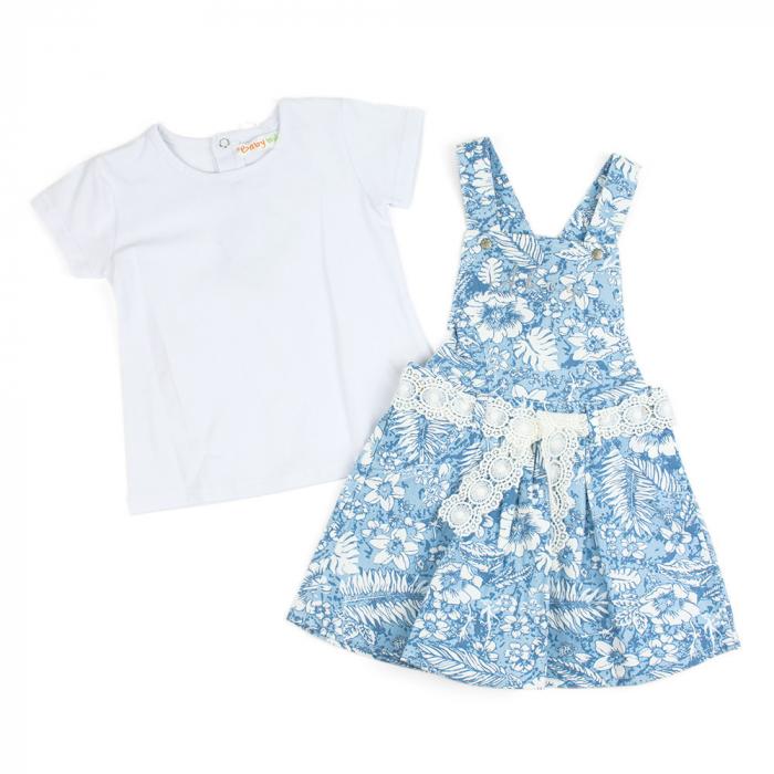 Set vara fete , tricou si sarafan, imprimeu floral, blue 0