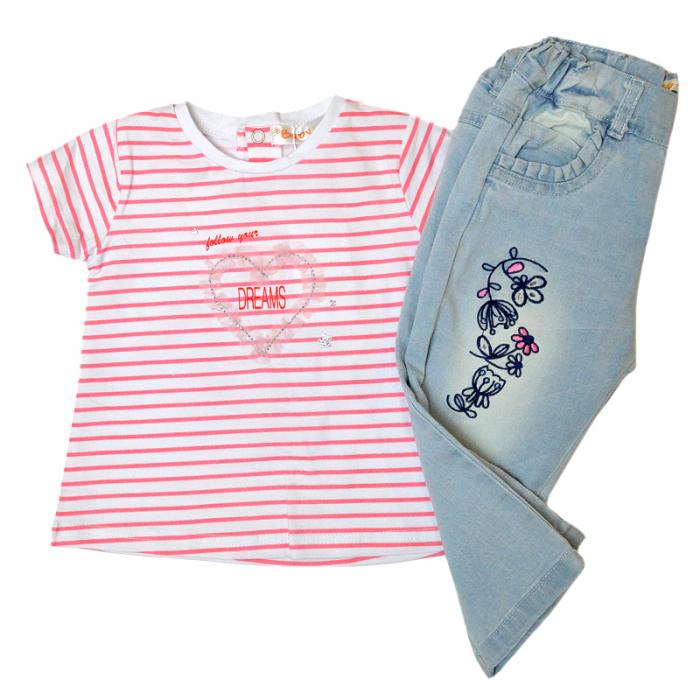 Set vara fetite tricou cu blugi light blue, Babybol [1]