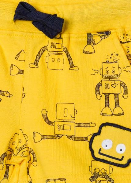 Sort bumbac bebe baiat, imprimeu roboti, galben, Losan [2]