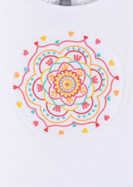 Top fete , motiv etnic floral, alb 3