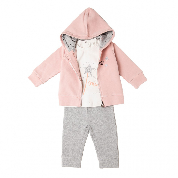 Trening fete 3 piese , hanorac gluga , tricou si colant , roz, Babybol 0