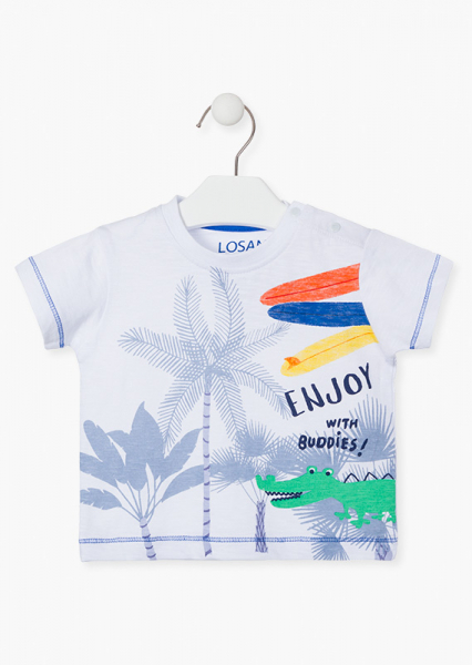 Tricou bebe baiat vara, imprimeu palmieri, LOSAN 0
