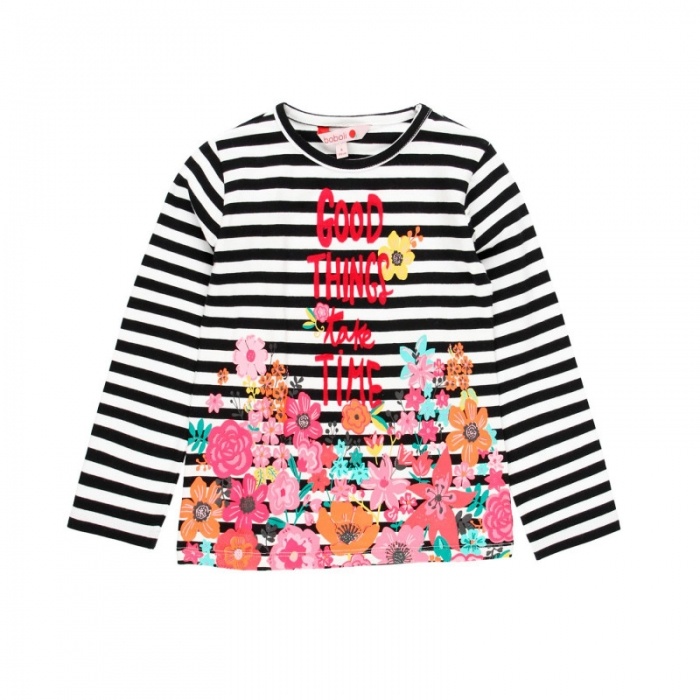 Tricou fete cu maneca lunga, dungi negre cu imprimeu floral, Boboli 0