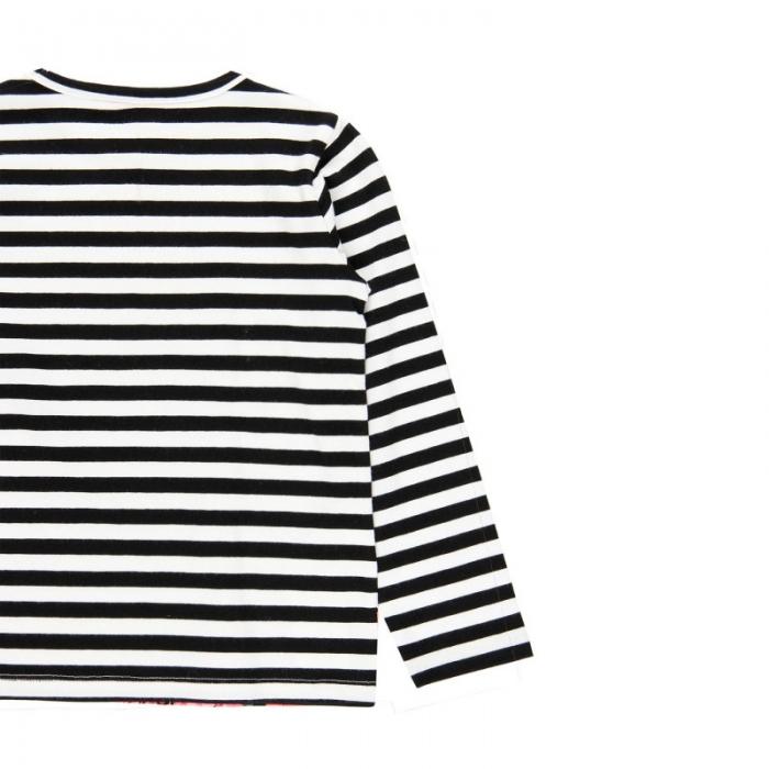 Tricou fete cu maneca lunga, dungi negre cu imprimeu floral, Boboli 3