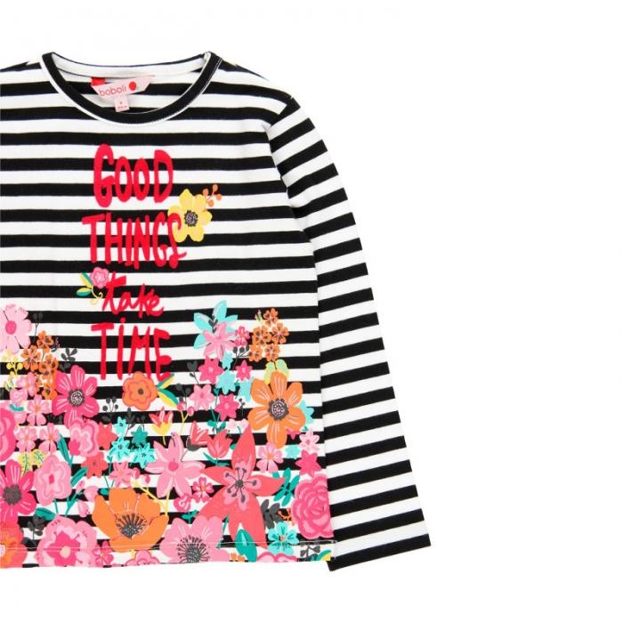 Tricou fete cu maneca lunga, dungi negre cu imprimeu floral, Boboli 2