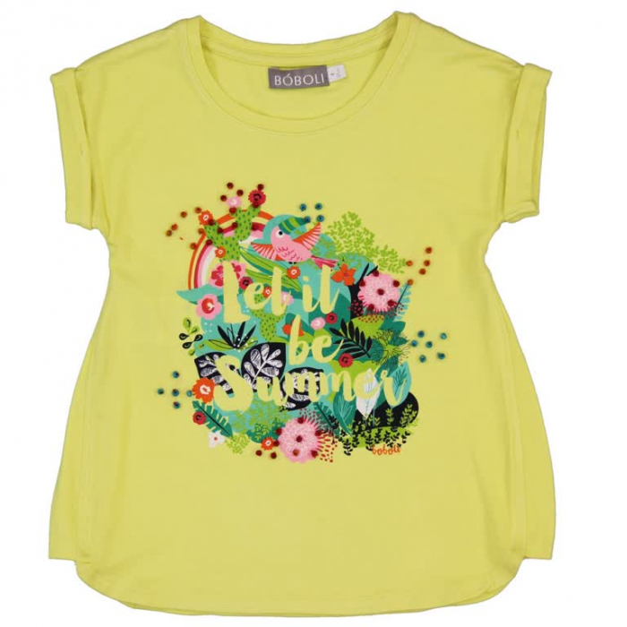 Tricou fete cu maneca scurta imprimeu floral ,Boboli 0