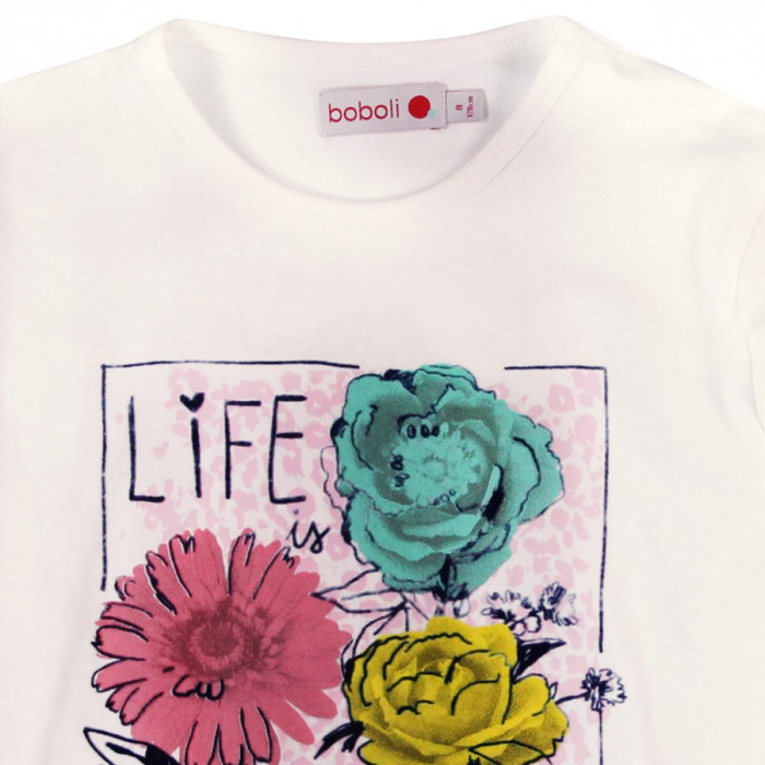Tricou fete maneca lunga Boboli, imprimeu floral 2