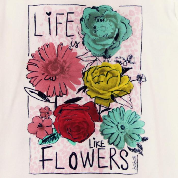 Tricou fete maneca lunga Boboli, imprimeu floral 3