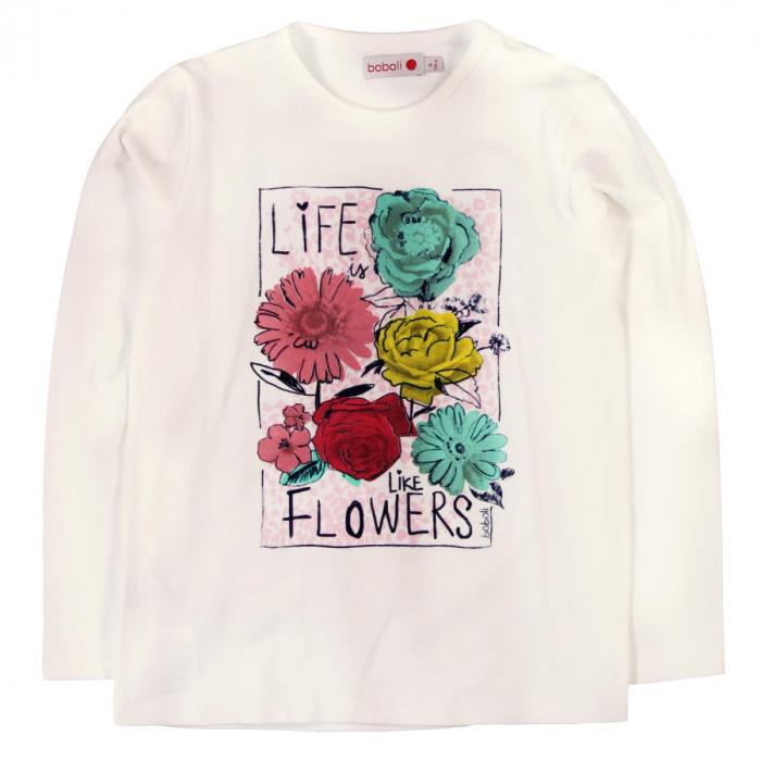 Tricou fete maneca lunga Boboli, imprimeu floral 0