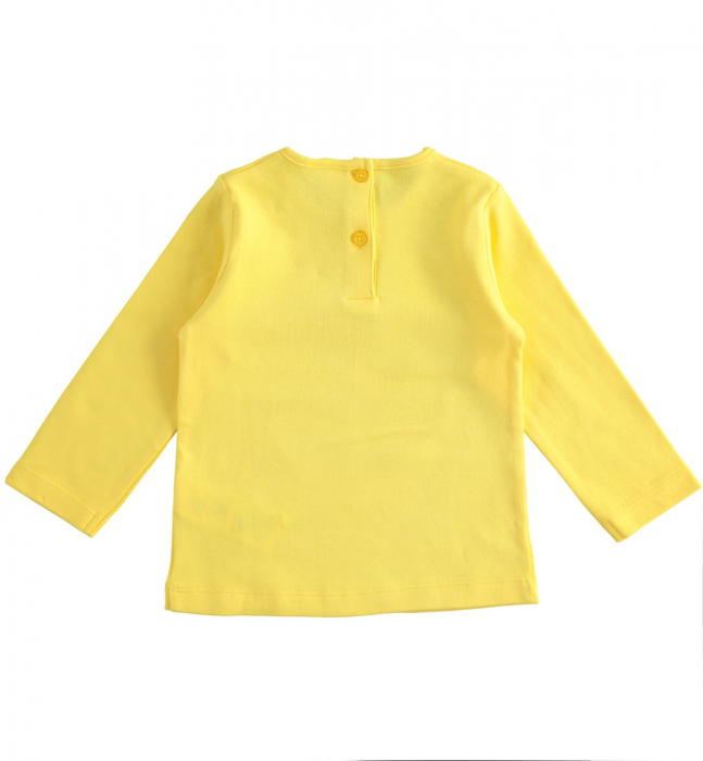 Tricou fete maneca lunga, galben, imprimeu cap pisica, iDO 1