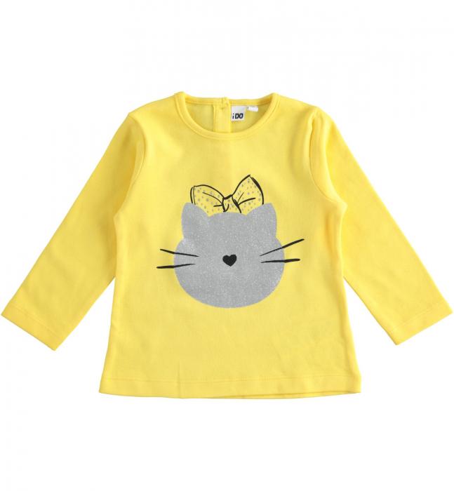 Tricou fete maneca lunga, galben, imprimeu cap pisica, iDO 0