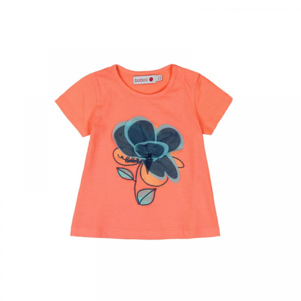 Tricou fete maneca scurta , orange , floare aplicata, Boboli 0
