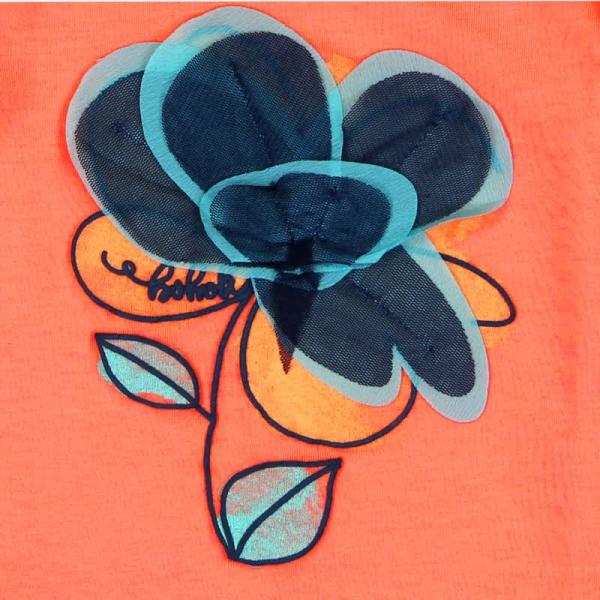 Tricou fete maneca scurta , orange , floare aplicata, Boboli 3