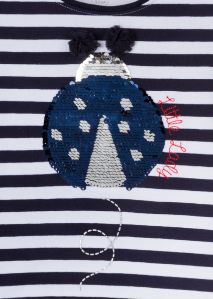Tricou fete vara, gargarita paiete reversibila, dungi navy 2