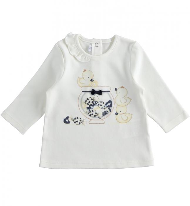 Tricou fetite 6-24 luni , imprimeu ratuste, crem, iDO 0