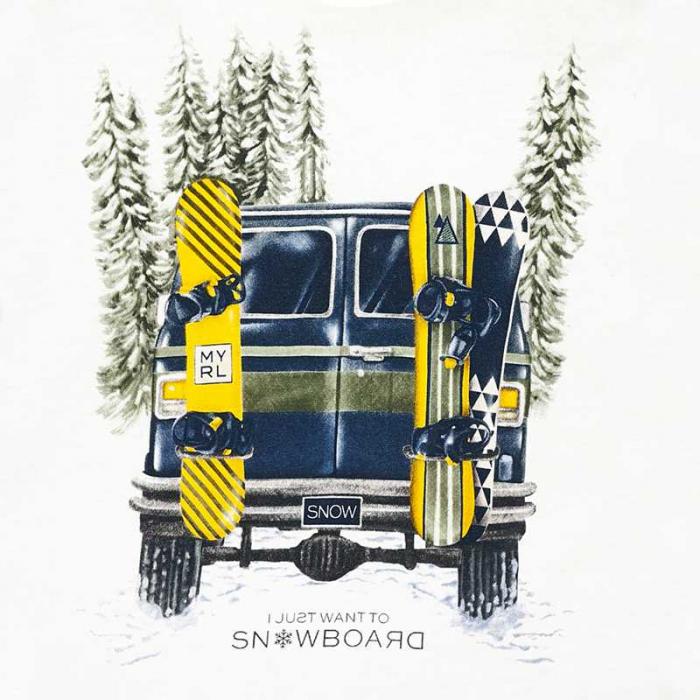 Tricou maneca lunga baiat, alb, print snowboard 2