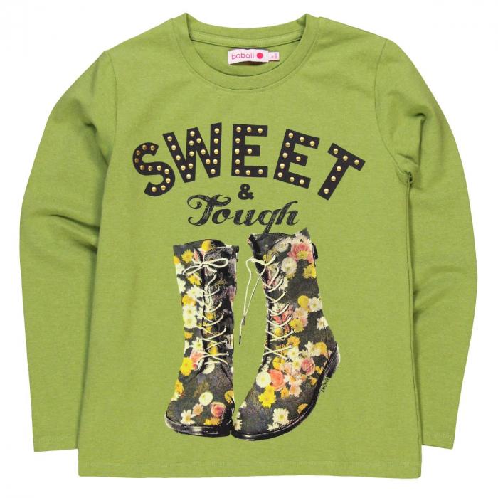 Tricou maneca lunga fete, sweet, verde, Boboli [0]