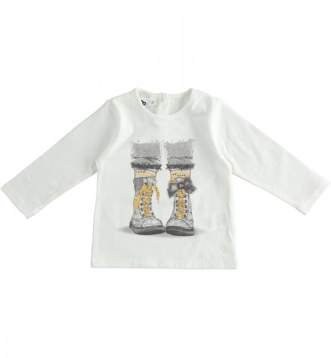 Tricou maneca lunga fetite ,print grafic , strasuri aplicate, iDO 0