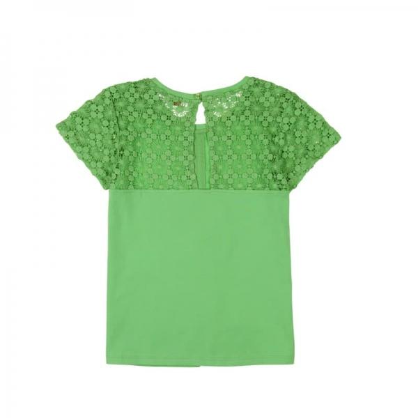 Tricou maneca scurta cu broderie Boboli verde 1