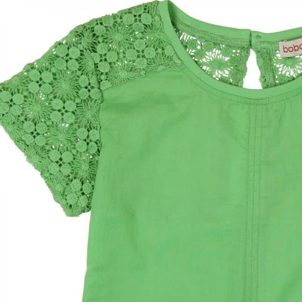 Tricou maneca scurta cu broderie Boboli verde 2