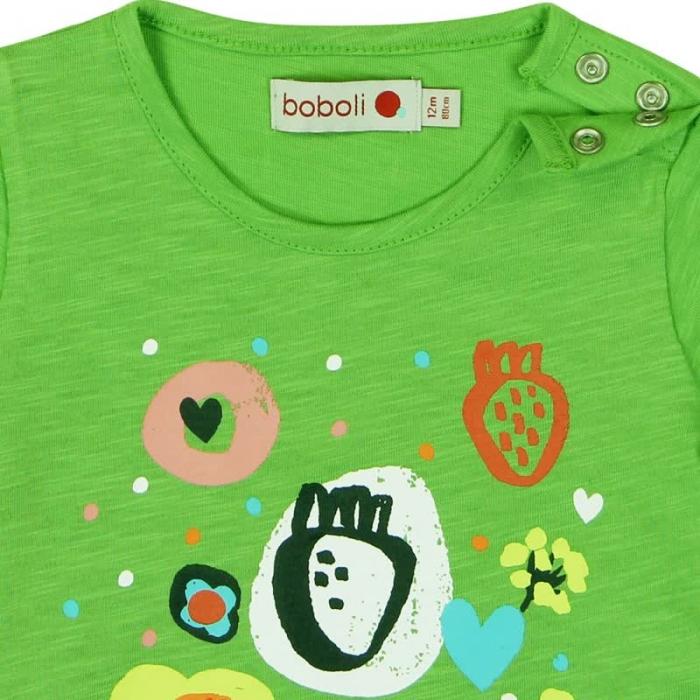 Tricou verde fetite cu imprimeu, Boboli 2