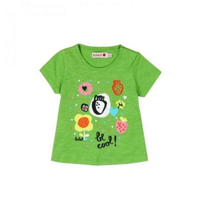 Tricou verde fetite cu imprimeu, Boboli 0