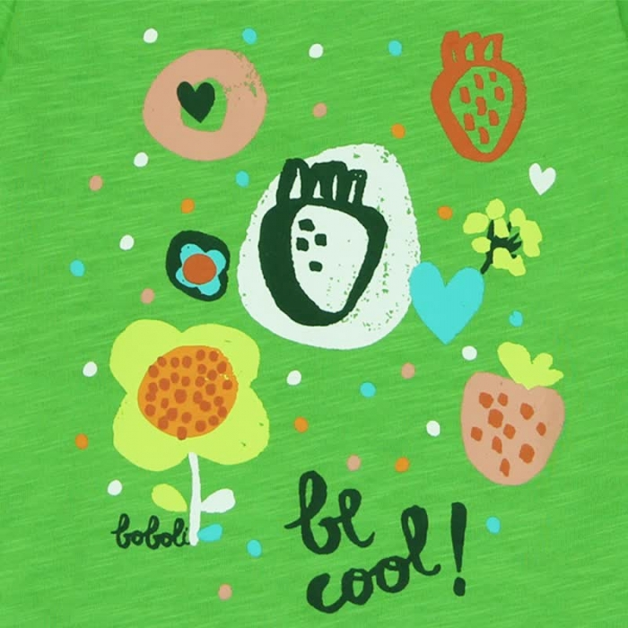 Tricou verde fetite cu imprimeu, Boboli 3
