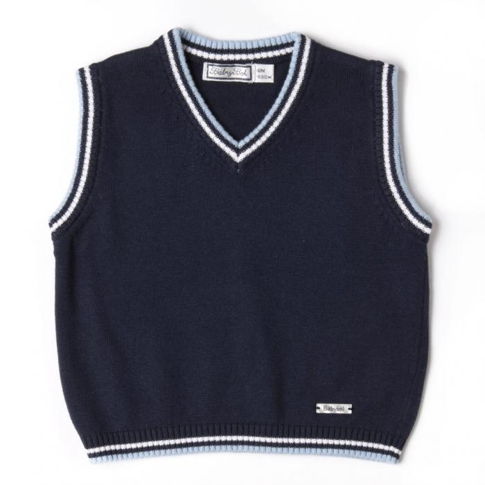 Vesta tricot baiat cu guler en-coeur, bleumarin , Babybol 0