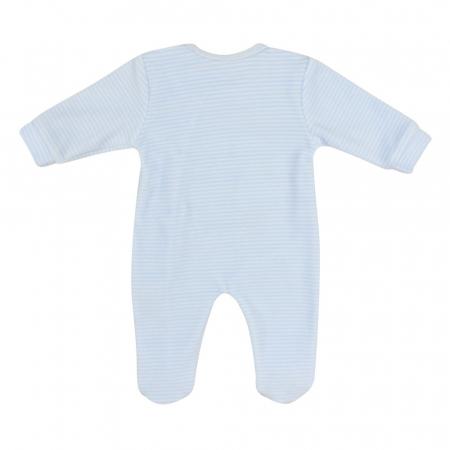 Babybol, Salopeta catifea bebe baiat cu botosei, dungi blue1