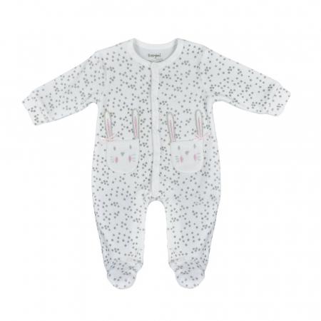 Babybol Salopeta catifea cu maneca lunga fetite 0-18 luni, stelute gri [0]