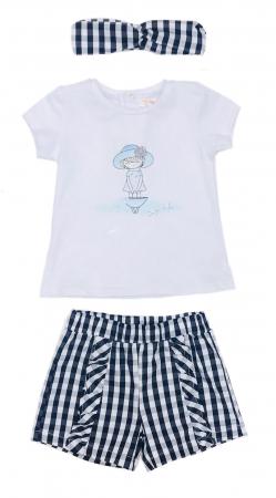 Babybol Set 3 piese fete tricou & pantalon scurt& bandana, navy1