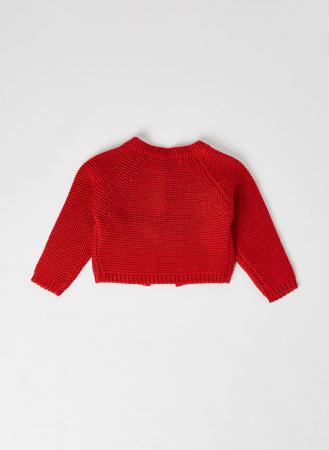 Cardigan fete tricotat, rosu, Babybol [1]