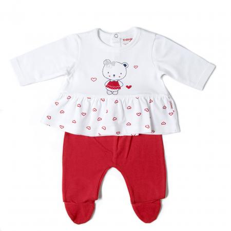 Costumas 2 piese bebe fetita, imprimeu inimioare rosii, Babybol [0]