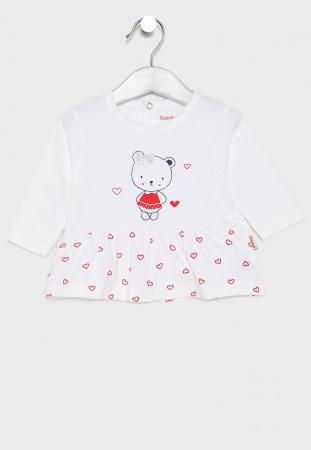 Costumas 2 piese bebe fetita, imprimeu inimioare rosii, Babybol [1]