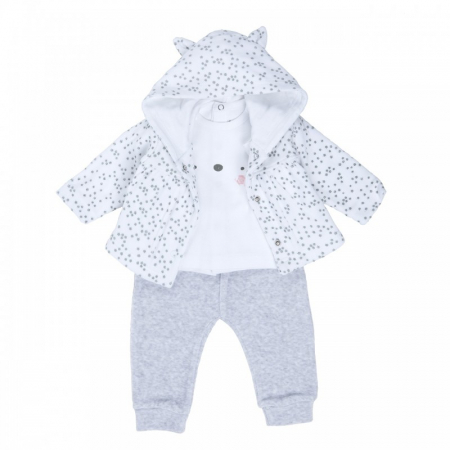 Costumas bebe fetita 3 piese 0-12 luni, imprimeu stelute, Babybol [0]