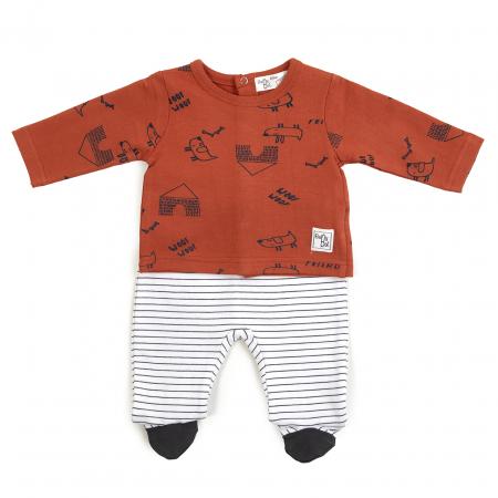 Costumas nou nascut , tricou cu pantalonas cu botosei, caramiziu, Babybol
