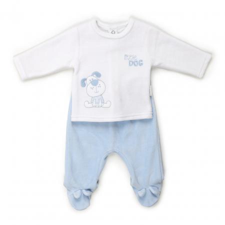 Costumas nou nascut, tricou si pantalonas cu botosei, bleu/alb, Babybol