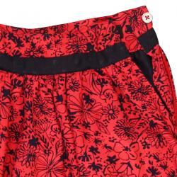 Fusta rosie cu imprimeu flori Boboli2