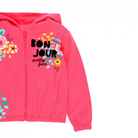 Hanorac fete , imprimeu floral, fucsia, Boboli2