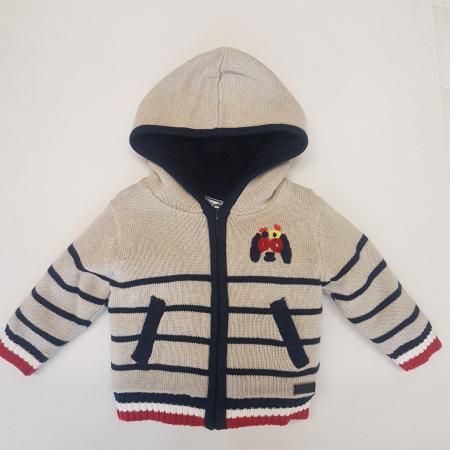 Jacheta tricot imblanita cu gluga baiat bebe, Babybol [0]