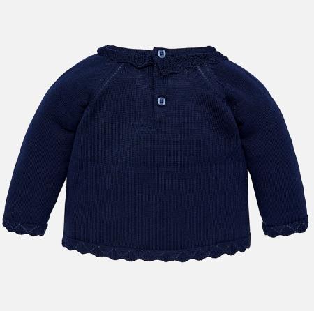 Mayoral - Pulover tricotat fetite, navy, imprimeu catel1