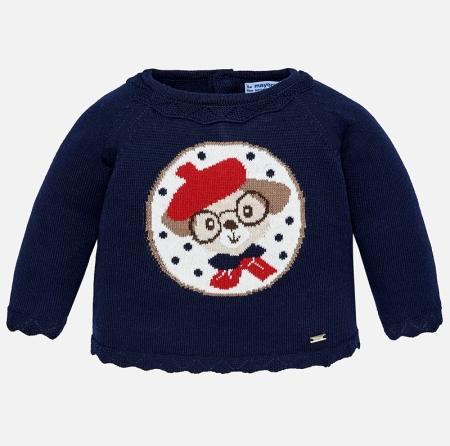 Mayoral - Pulover tricotat fetite, navy, imprimeu catel0