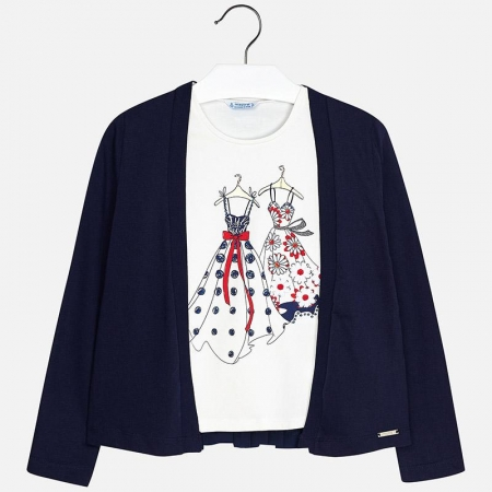 Mayoral - Set fete cardigan si tricou , navy, 8-16 ani0