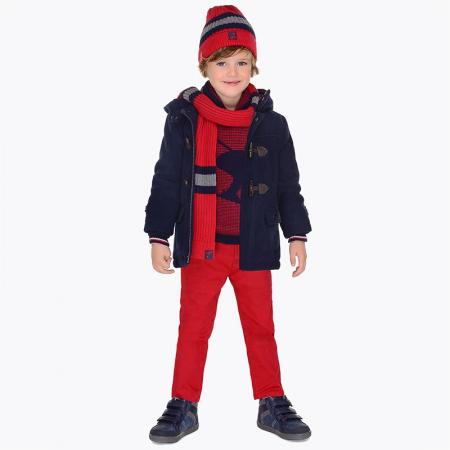 Pantalon baieti Mayoral, chino slim, rosu [0]