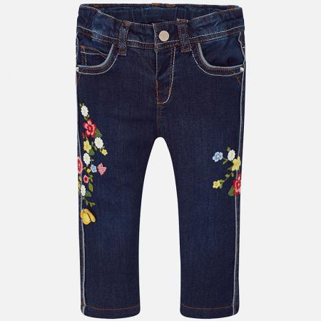 Pantalon jeans fete cu broderie flori, Mayoral0