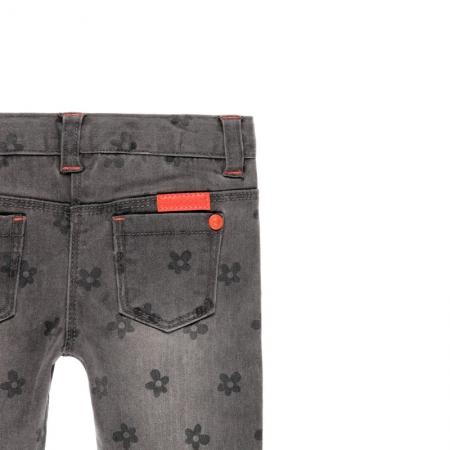 Pantalon jeans fete gri , imprimeu flori, Boboli3