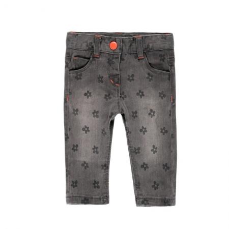Pantalon jeans fete gri , imprimeu flori, Boboli0