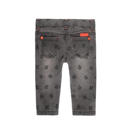 Pantalon jeans fete gri , imprimeu flori, Boboli1